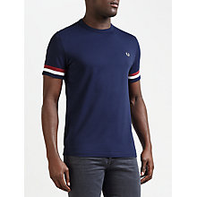 Buy Fred Perry Full Stripe Cuff T-Shirt, Carbon Blue Online at johnlewis.com