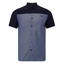 Buy Fred Perry Texture Mix Short Sleeve Shirt, Navy Online at johnlewis.com