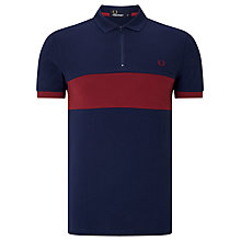 Buy Fred Perry Chest Panel Pique Polo Shirt, Carbon Blue Online at johnlewis.com