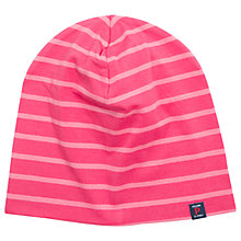 Buy Polarn O. Pyret Children's Stripe Beanie Hat, Pink/White Online at johnlewis.com