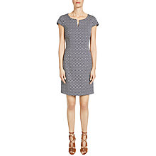 Buy Oui Jacquard Dress, Dark Blue/White Online at johnlewis.com