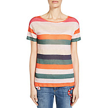 Buy Oui Stripe Cotton Linen T-Shirt, Multi Online at johnlewis.com