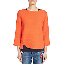 Buy Oui Ribbed Zip Back Jumper, Cherry Tomato Online at johnlewis.com