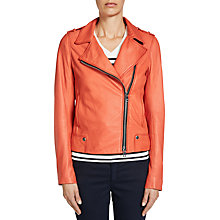 Buy Oui Leather Biker Jacket, Cherry Tomato Online at johnlewis.com