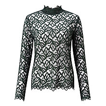 Buy Samsoe & Samsoe Ibi Long Sleeve Lace Top, Darkest Spruce Online at johnlewis.com