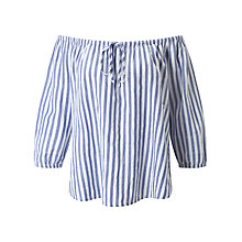 Buy Velvet Jene Off The Shoulder Stripe Blouse, Blue/White Online at johnlewis.com