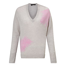 Buy 360 Sweater Flaviana Feather Print Cashmere Jumper, Shitake Peony Online at johnlewis.com