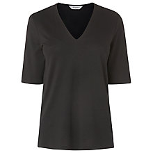 Buy L.K. Bennett Lorna V-Neck Jersey Top, Black Online at johnlewis.com