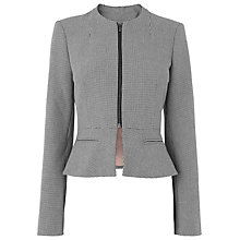 Buy L.K. Bennett Gaia Houndstooth Zip Front Peplum Jacket, Black/White Online at johnlewis.com
