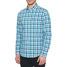 Buy Original Penguin Madras Check Long Sleeve Shirt, Diva Blue Online at johnlewis.com