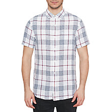 Buy Original Penguin Short Sleeve Check Linen Shirt, Bright White/Multi Online at johnlewis.com
