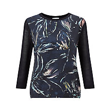 Buy Jigsaw Silk Front Bleached Floral Jumper, Dark Navy Online at johnlewis.com
