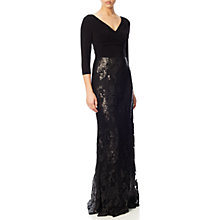 Buy Adrianna Papell V Neck Jersey Sequin Gown, Black Online at johnlewis.com