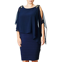 Buy Adrianna Papell Plus Chiffon Capelet Banded Dress, Lyric Navy Online at johnlewis.com