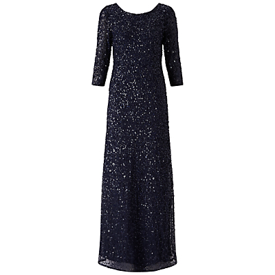 Adrianna Papell 3/4 Sleeve Beaded Mermaid Gown, Navy