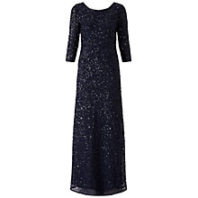 Buy Adrianna Papell 3/4 Sleeve Beaded Mermaid Gown, Navy Online at johnlewis.com