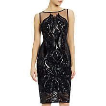 Buy Adrianna Papell Plus Size Sequin Panel Illusion Cocktail Dress, Black Online at johnlewis.com