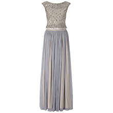 Buy Adrianna Papell Beaded Top And Tulle Skirt Dress, Silver Grey Online at johnlewis.com