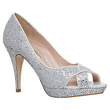 Buy Miss KG Georgina Occasion Peep Toe Stiletto Sandals, Silver Online at johnlewis.com