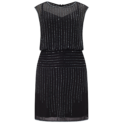 Adrianna Papell Beaded Blouson Cocktail Dress, Black