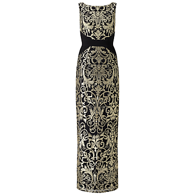 Adrianna Papell Plus Size Jersey Lace Column Gown, Black/Gold