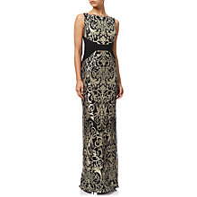 Buy Adrianna Papell Plus Size Jersey Lace Column Gown, Black/Gold Online at johnlewis.com