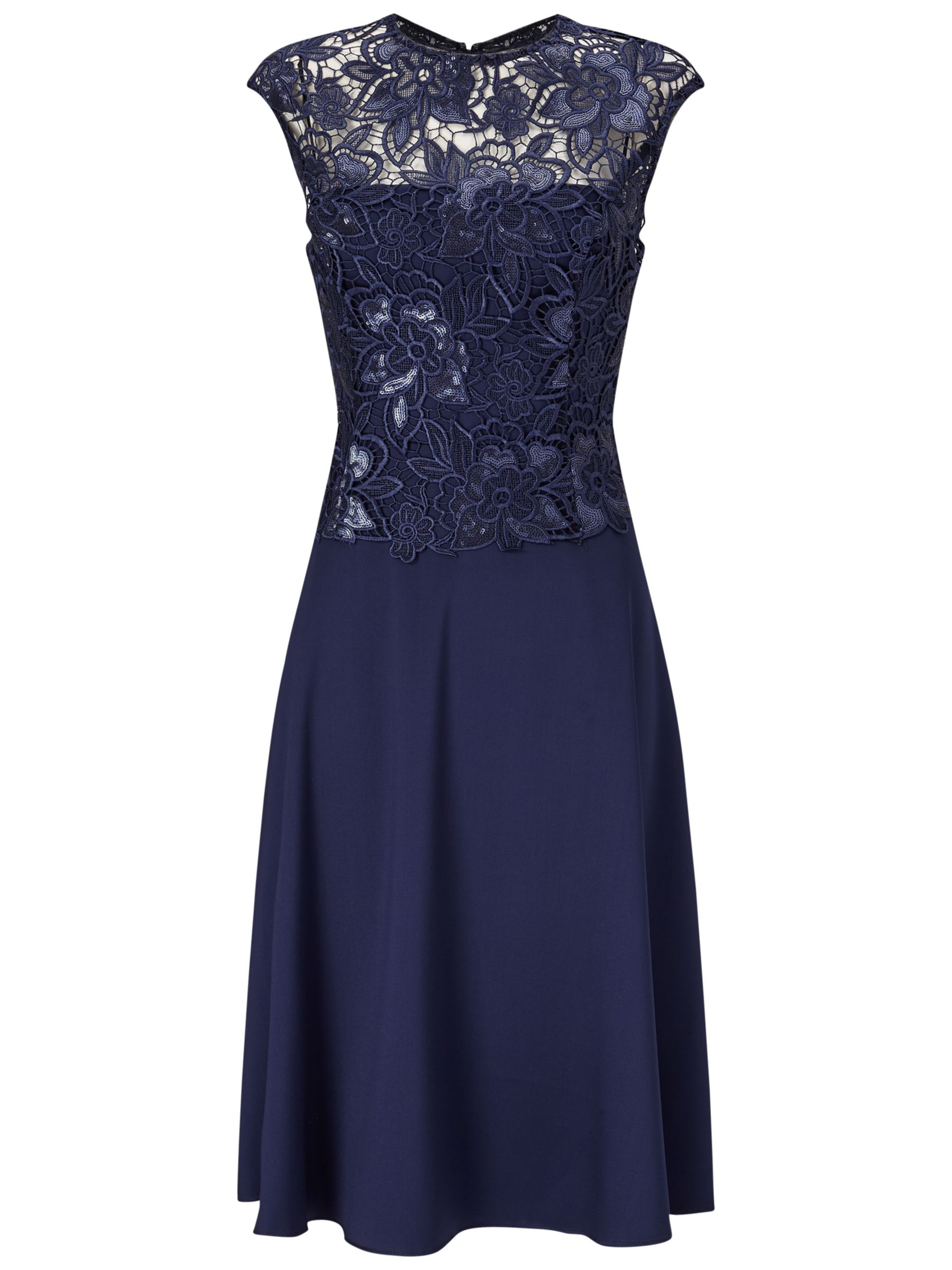 Adrianna Papell Adrianna Papell Cap Sleeve A-Line Cocktail Dress, Night Navy