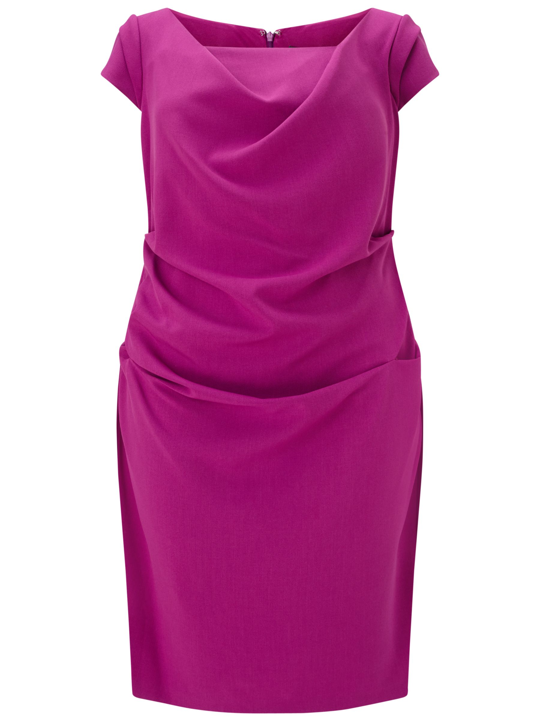 Adrianna Papell Adrianna Papell Plus Size Draped Cowl Neck Sheath Dress, Deep Berry