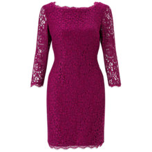 Buy Adrianna Papell Petite 3/4 Length Sleeve Lace Dress, Crushed Berry Online at johnlewis.com