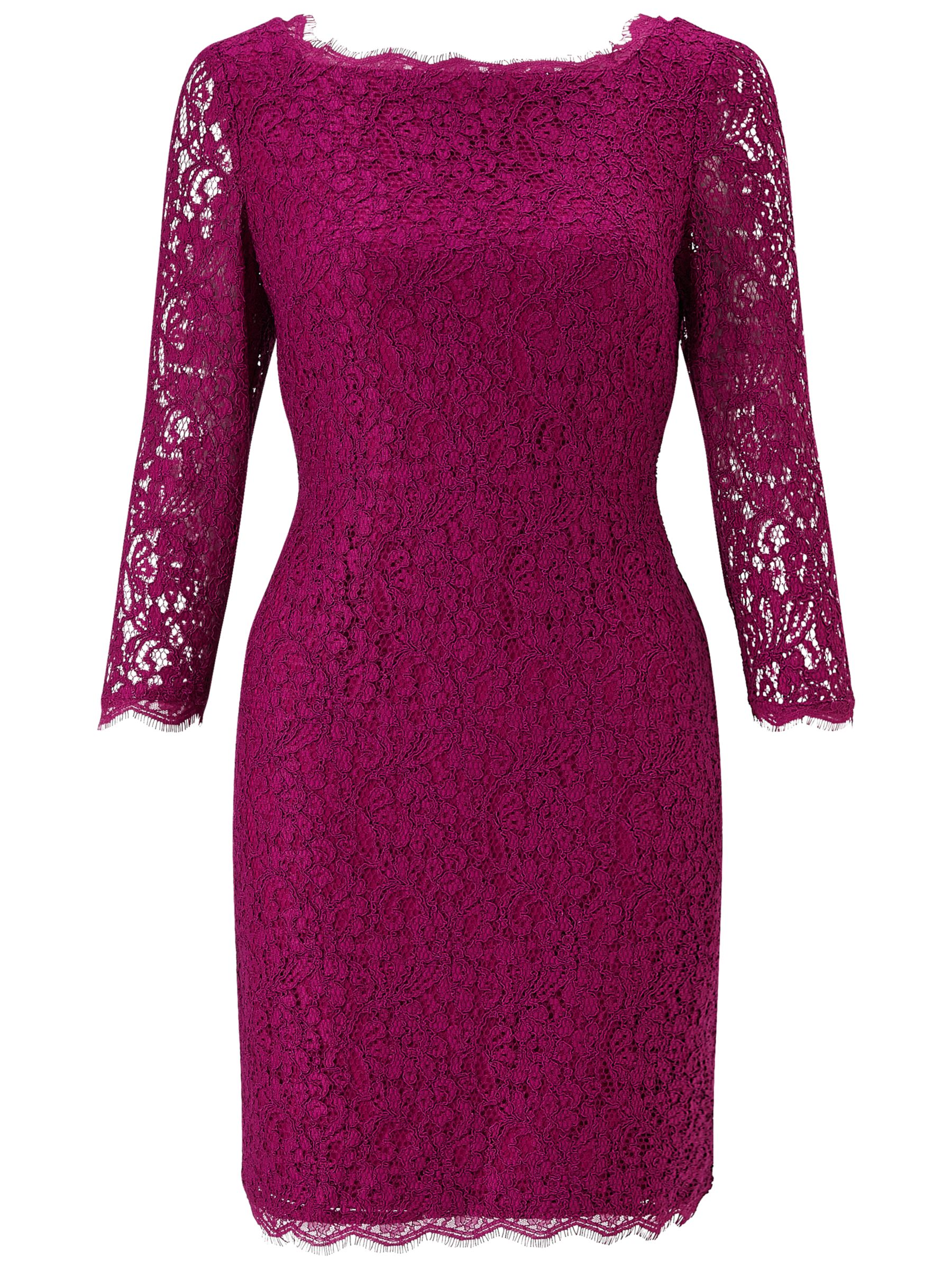 Adrianna Papell Adrianna Papell Petite 3/4 Length Sleeve Lace Dress, Crushed Berry