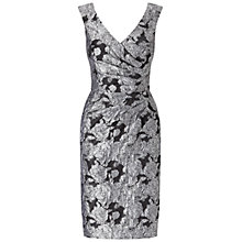 Buy Adrianna Papell V Neck Side Drape Sheath Dress, Silver/Black Online at johnlewis.com