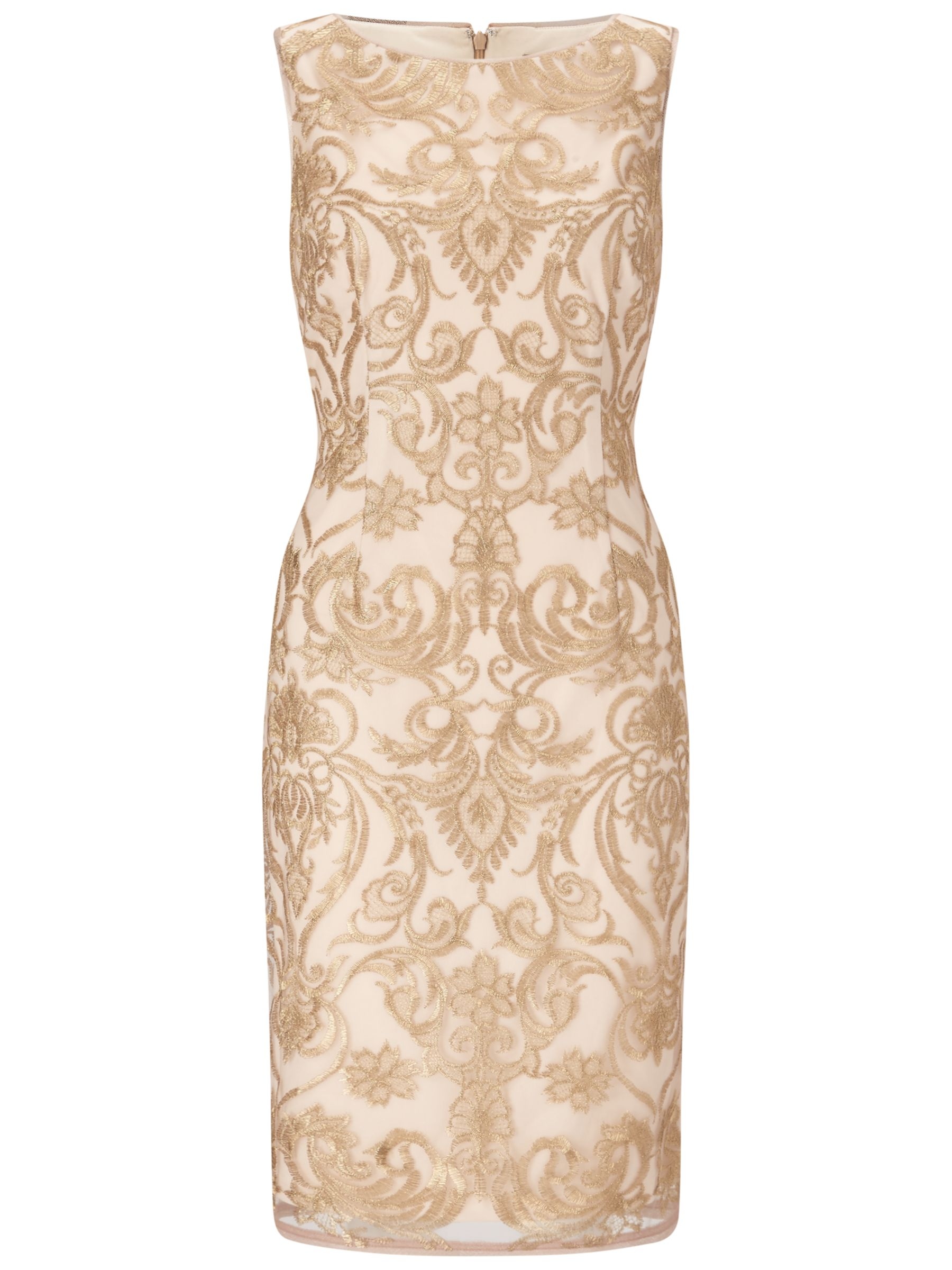 Adrianna Papell Adrianna Papell Sleeveless Embroidered Floral Cocktail Dress, Rose Gold/Nude