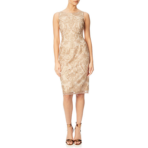 Buy Adrianna Papell Sleeveless Embroidered Floral Cocktail Dress, Rose Gold/Nude | John Lewis