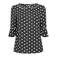 Buy Oasis Spot Fluted Sleeve Top, Black/White Online at johnlewis.com