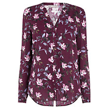 Buy Oasis Painted Rose Collar Shirt, Burgundy Online at johnlewis.com
