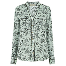 Buy Oasis Rosie Bird Piped Shirt, Multi Green Online at johnlewis.com