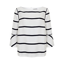 Buy Mint Velvet Flared Sleeve Blouse, Ivory/Ink Stripe Online at johnlewis.com