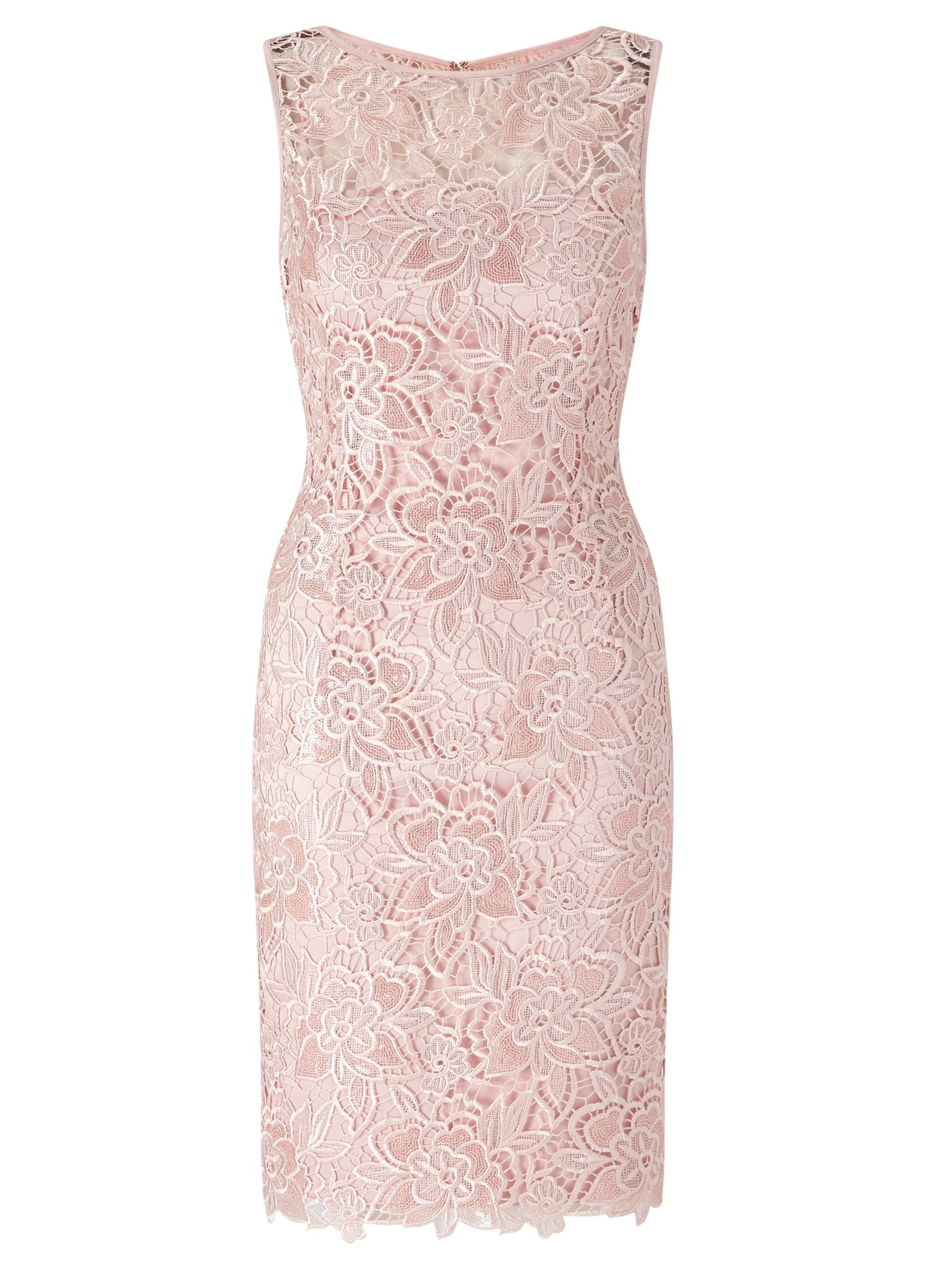 Adrianna Papell Adrianna Papell Sequin Guipure Lace Sheath Dress, Blush