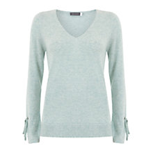 Buy Mint Velvet Tie Cuff V-Neck Jumper, Green Online at johnlewis.com