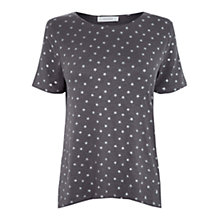 Buy Oasis Foil Star T-Shirt, Dark Grey Online at johnlewis.com
