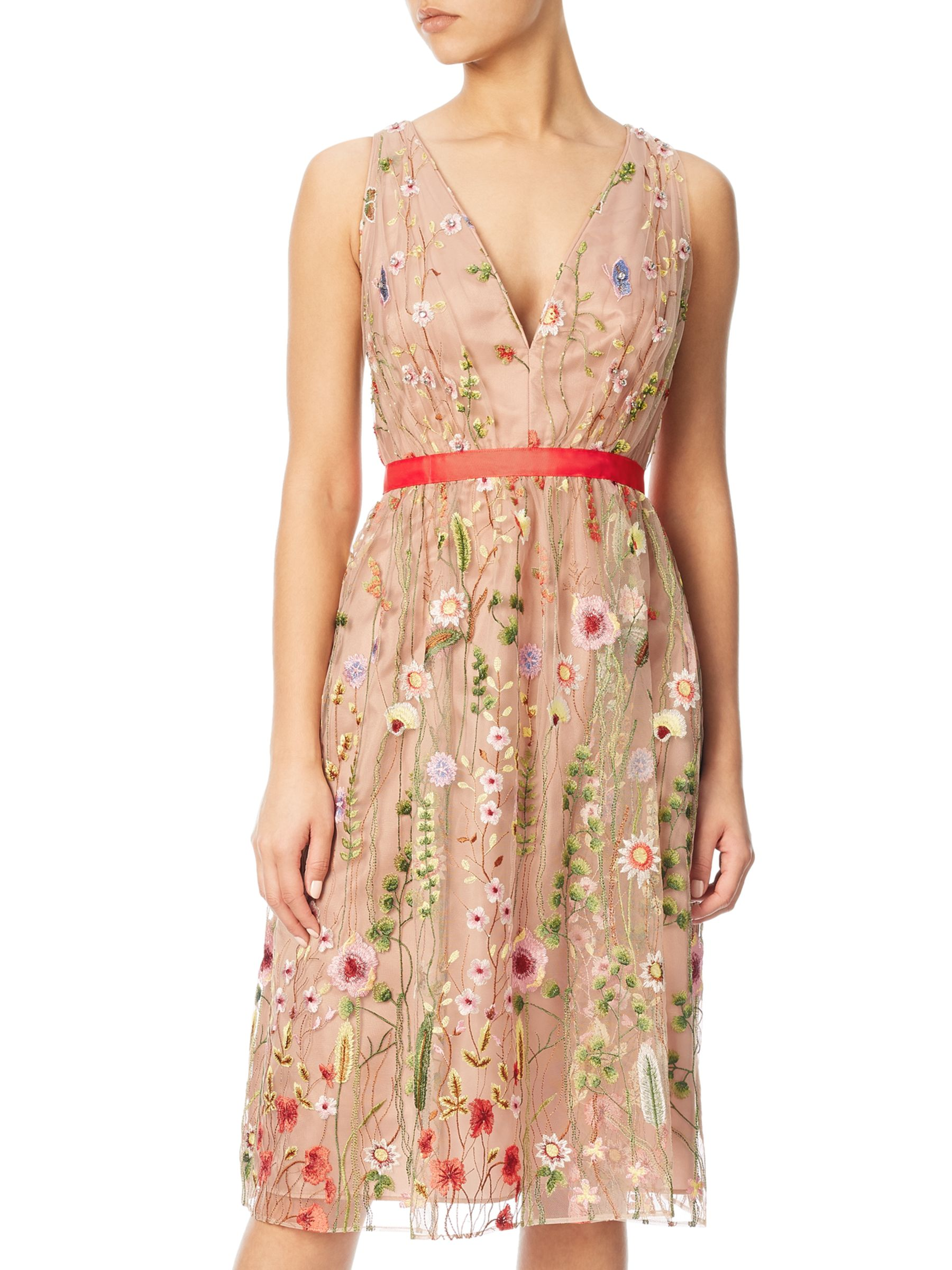 Adrianna Papell Adrianna Papell Embroidered Tulle Fit And Flare Prom Dress