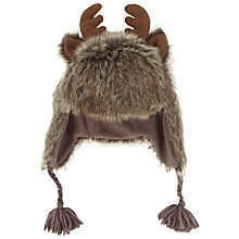 Buy Fat Face Children's Moose Faux Fur Trapper Hat, Chocolate Online at johnlewis.com