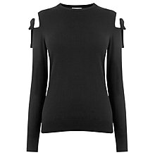 Buy Warehouse Tie Shoulder Jumper, Black Online at johnlewis.com