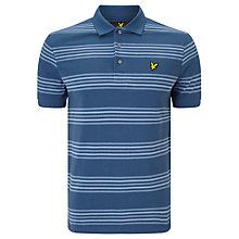 Buy Lyle & Scott Double Stripe Woven Cotton Polo Shirt, Blue Steel Online at johnlewis.com