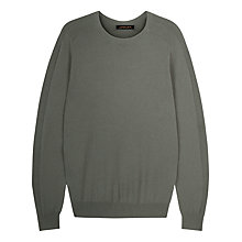 Buy Jaeger Integral Rib Crew Neck Jumper, Green Online at johnlewis.com