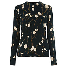 Buy Warehouse Firefly Print Crew Neck Jumper, Black Online at johnlewis.com