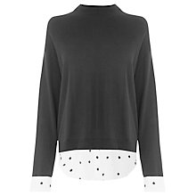 Buy Warehouse Dotty Hybrid Jumper, Black Online at johnlewis.com