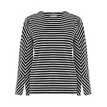 Buy Warehouse Stripe Split Sleeve Ponte Top, Black/White Online at johnlewis.com