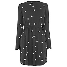 Buy Warehouse Spot Print T-Shirt Dress, Black/White Online at johnlewis.com
