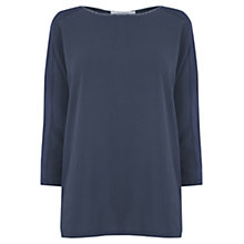 Buy Oasis Metallic Trim Dropped Sleeve Top, Navy Online at johnlewis.com